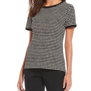 Anne Klein Polka Dot Button Back Short Sleeve Top